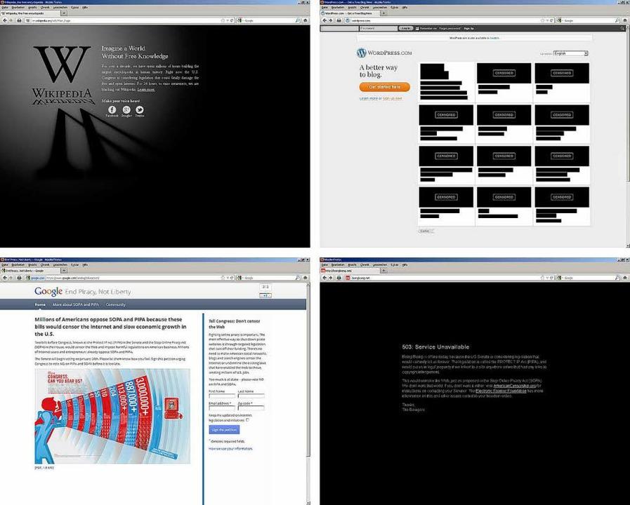 Die Internetseiten von Wikipedia, Word...gegen amerikanische Netzsperren-Pläne.  | Foto: dpa