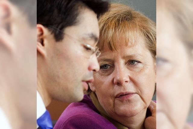 Merkel springt über einen sehr großen Schatten