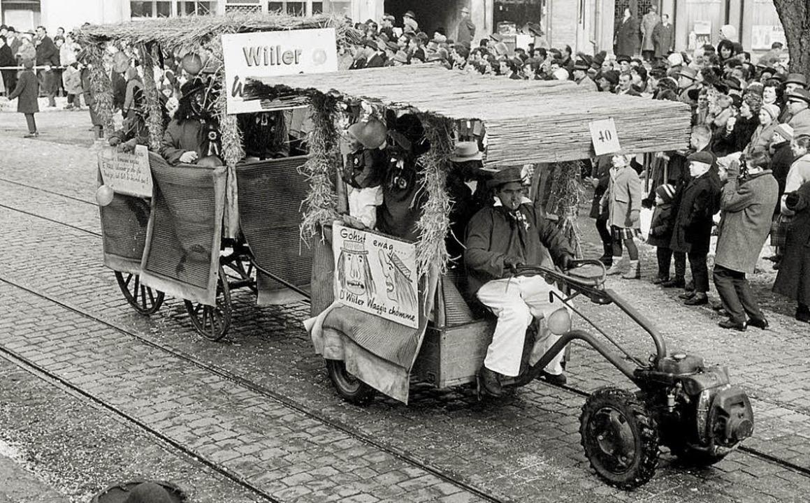 """Mit dem ersten selbstgebauten Wagen na...Some"""" am Umzug in Lörrach teil.     Foto: Privat"""