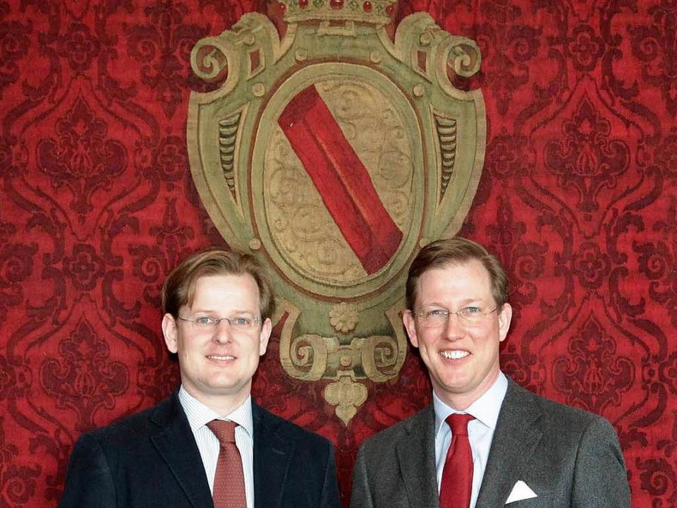 Badens Nachwuchs: Prinz Michael (links...d vor dem  Familienwappen Frank Vetter  | Foto: Frank Vetter
