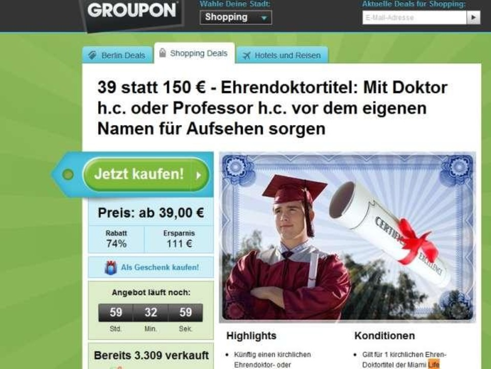 Doktortitel h.c. für 39 Euro bei Groupon    Foto: IDG