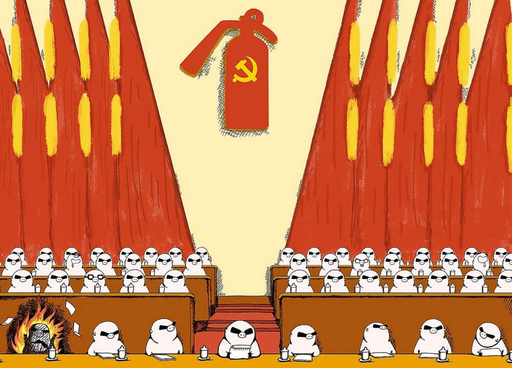 Kritische Botschaft mit Humor verpackt...e Abgeordnete steht für einen Tibeter.  | Foto: Fengxie