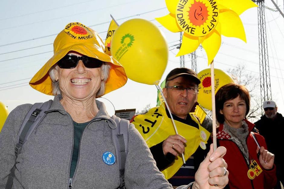 Anti-Atomenergie-Demonstration in Fessenheim am Jahrestag des Kernkraftwerk-Unglücks in Fukushima. (Foto: dapd)