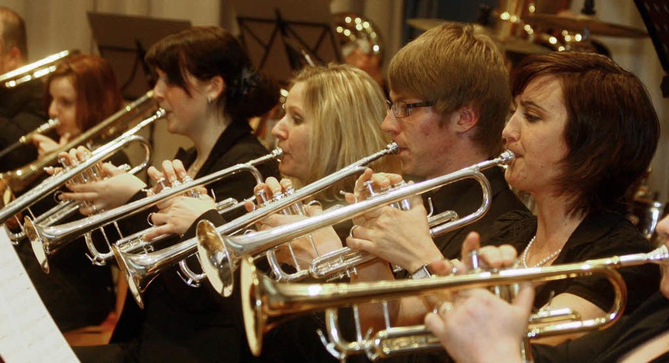 Die Trompeterinnen und Trompeter des Musikvereins Mahlberg beim Jahreskonzert.   | Foto: Sandra Decoux-Kone