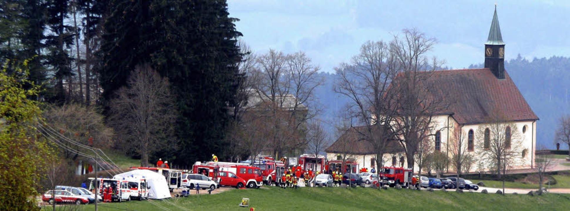 Großeinsatz auf dem Lindenberg bei St....enommen wurde ein Brand im Gästehaus.   | Foto: Monika Rombach