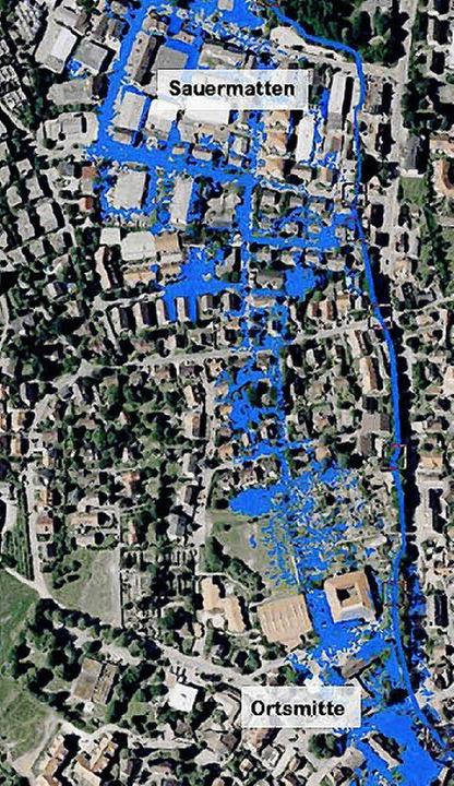 Merzhausen nach einem 100-jährigen Hoc...r. Blau: die überschwemmten Bereiche.   | Foto: simulation: Büro Ernst & Co.