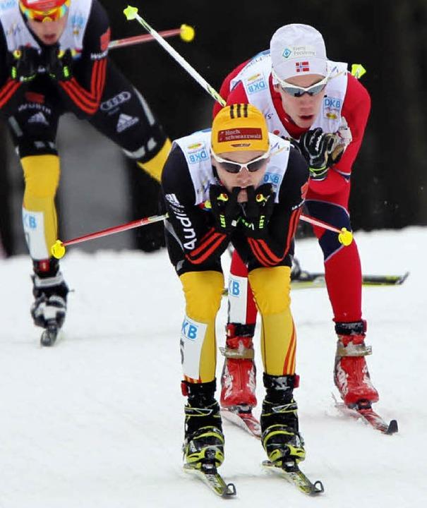 Vorneweg in die Kombinierer-Weltspitze...le beim Weltcup-Rennen in Klingenthal   | Foto: dpa