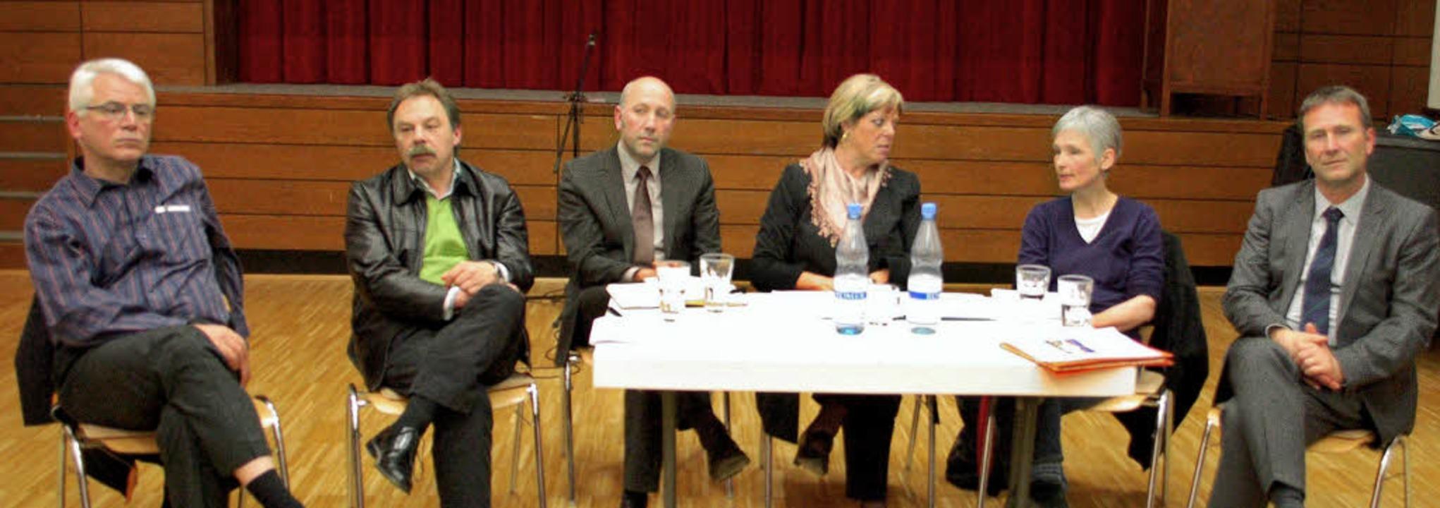 Auf dem Podium (von links): Michael Fr...Wölfle, Mechtild Ganter und Jürgen Ruf  | Foto: dapd, Sommer