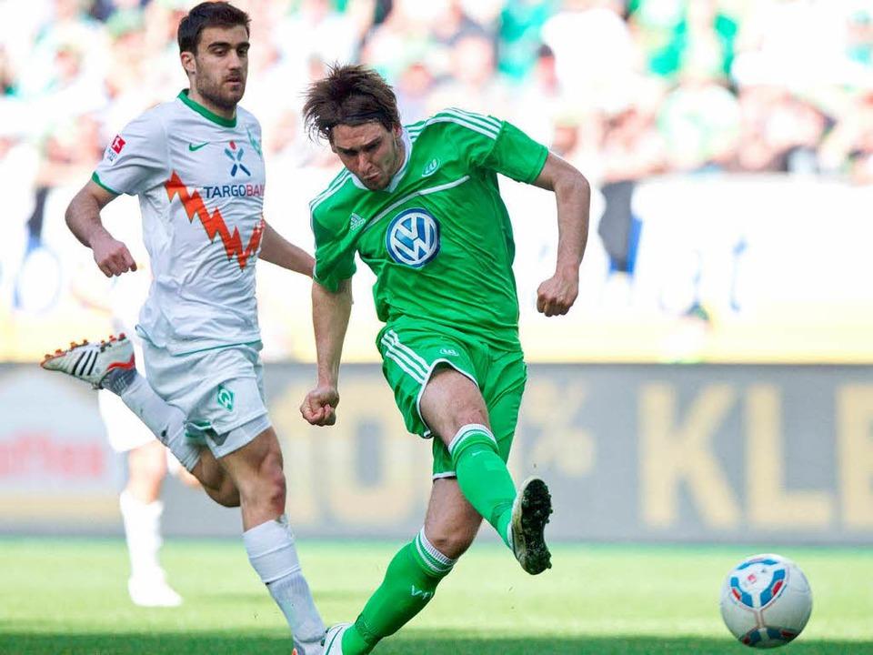 Er trifft und trifft und trifft &#8230...Rückrunde für den Wolfsburger Stürmer.    Foto: dpa