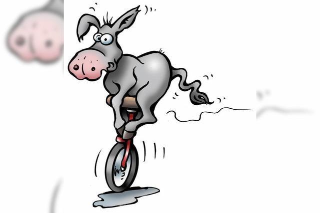 Rasierte Eselbeine fahren Einrad