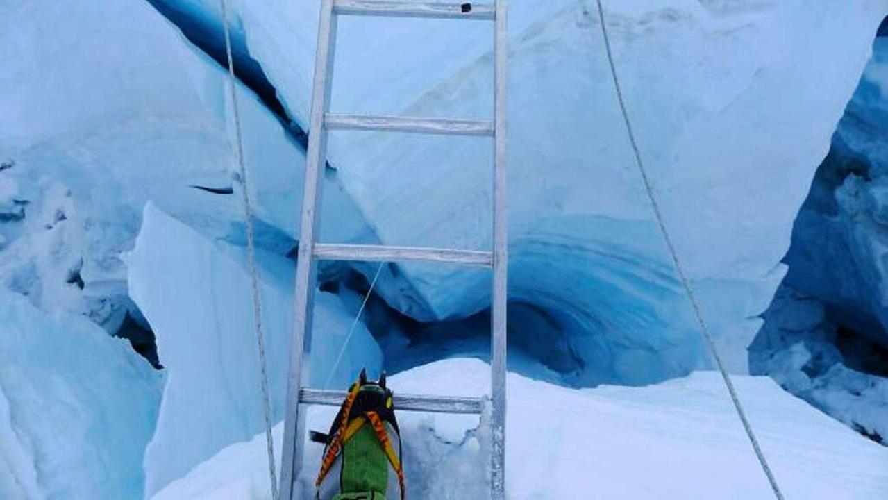 Eine der unzähligen Leiterpassagen im Eisbruch  | Foto: Richard Stihler