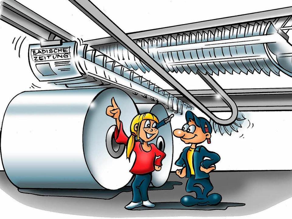 So ensteht die Badische Zeitung.   | Foto: Zeichnung: Terelle
