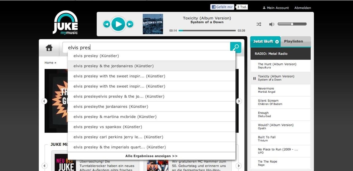 Juke: Suche - Suche, Playlist-Verwaltu...uswahl machen den Charme von Juke aus.    Foto: IDG