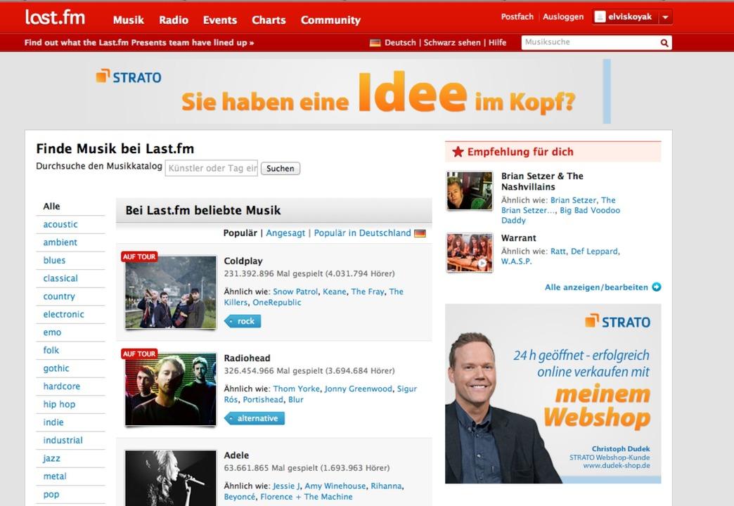 Last.fm: Werbung - Last.fm ist kostenl...t das eigentlich gute Design zunichte.    Foto: IDG