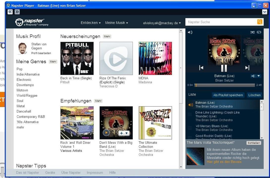Napster: Desktop-Player - Na endlich: ...rum läuft die Air-App nur auf Windows?    Foto: IDG