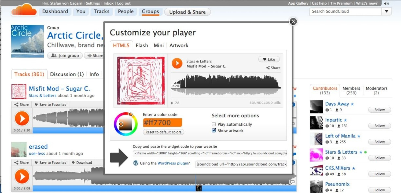Soundcloud: Externer Player - Der Play...echnisch und optisch angepasst werden.    Foto: IDG