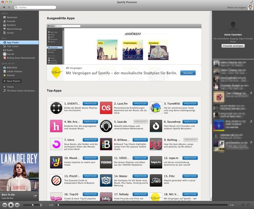 Spotify: Apps - Schon zum Deutschland-...e Auswahl an Apps für den Player groß.    Foto: IDG