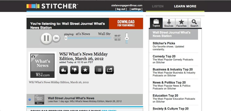 Stitcher: Hauptseite - Der Player domi...n beim Finden interessanter Sendungen.    Foto: IDG