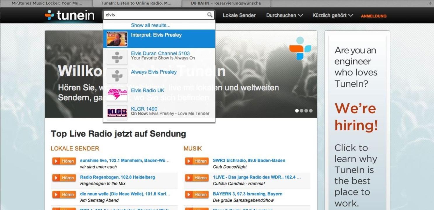 Tunein Radio: Interpretensuche - Was l...im Radio? Kein Problem für Tunein.com!    Foto: IDG