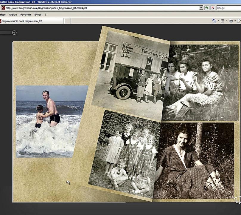 Beispiel für ein  virtuelles Lebensbuch von Biogravision  | Foto: Screenshot: BZ