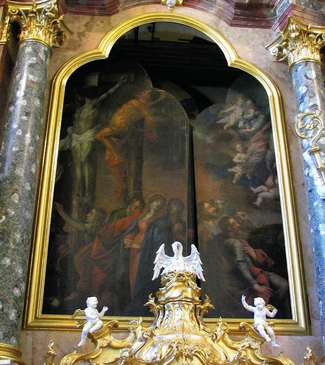 Altarbildtausch in der Barockkirche St. Peter   | Foto: Monika Rombach