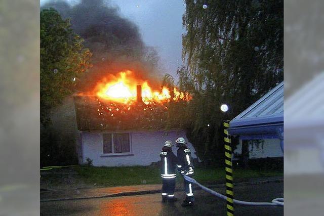Blitz lässt Lagergebäude in Flammen stehen
