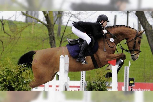 Junger Reiter macht große Sprünge