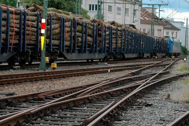 Guter Zug: 599 Meter langer Holztransport beeindruckt Lörrach