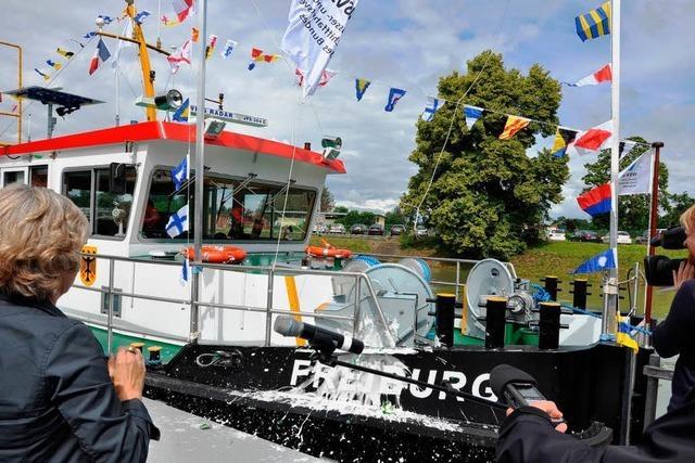 Das neue Motorschiff der Außenstelle Breisach des Wasser- und Schifffahrtsamtes heißt
