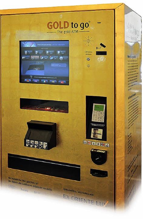 Gold to go: Wer mag, kann an einem Automaten Gold kaufen.    Foto: Verena Pichler