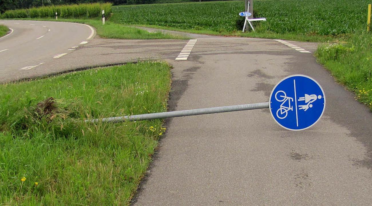 Gefährliches Hindernis auf dem Geh- und Radweg.  | Foto: Polizei