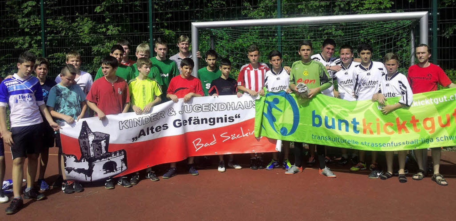 "Beim Turnier ""bunt kickt gut&#82...m Team ""Käsebrot"" (Murg).     Foto: BZ"