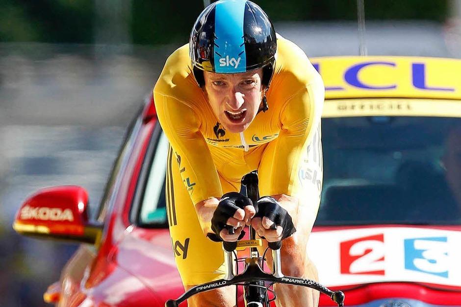 Bradley Wiggins gewinnt das Zeitfahren (Foto: dpa)
