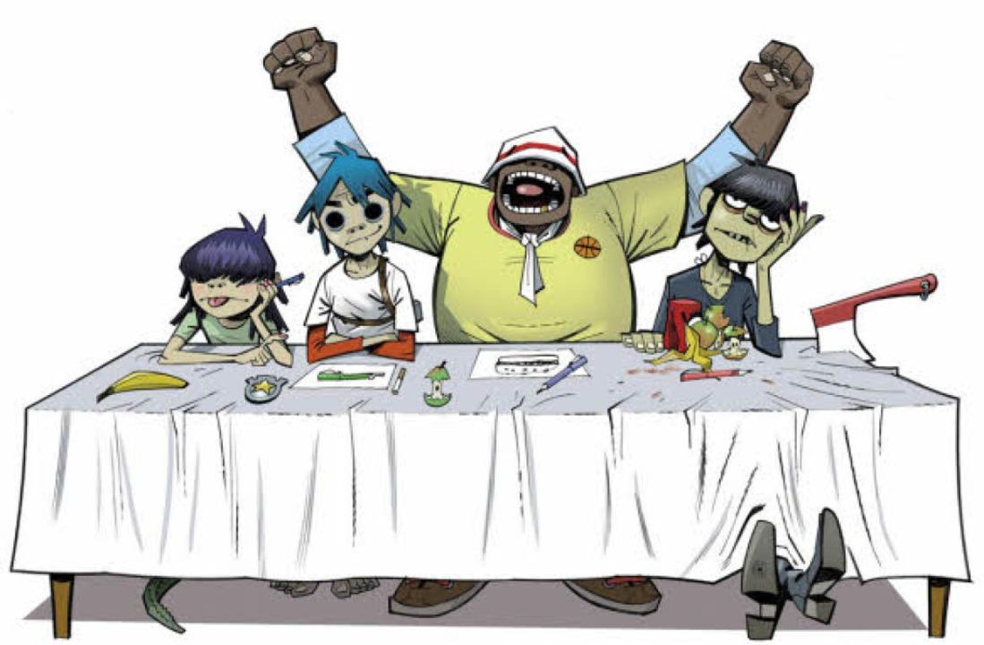 Die Gorillaz: Noodle, 2D, Russel und Murdoc (v. l.)   | Foto: emi
