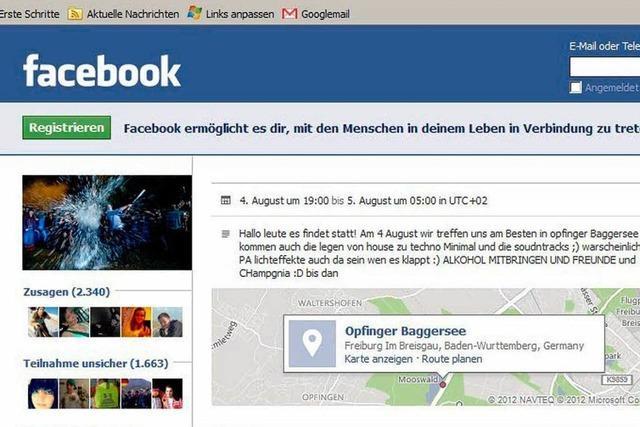 Steigt am 4. August eine Facebook-Party in Freiburg?
