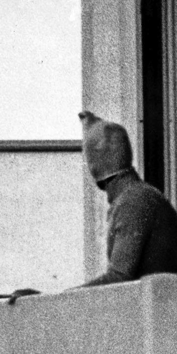 Ein vermummter Terrorist zeigt sich am...rtiers im Olympischen Dorf in München.  | Foto: Verwendung weltweit, usage worldwide