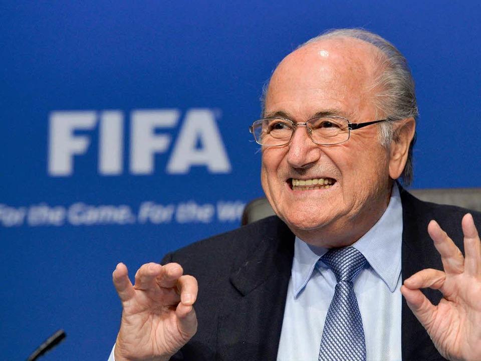 """""""Ich bin ein glücklicher Präsident"""", sagt Joseph Blatter.     Foto: AFP"""