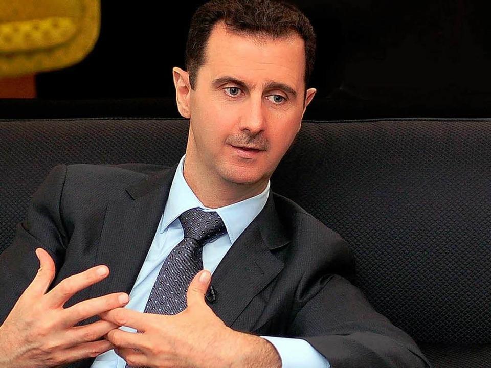 Syriens Diktator Assad: Die Kriegserklärung dürfte ihn nicht schmerzen.    Foto: dpa