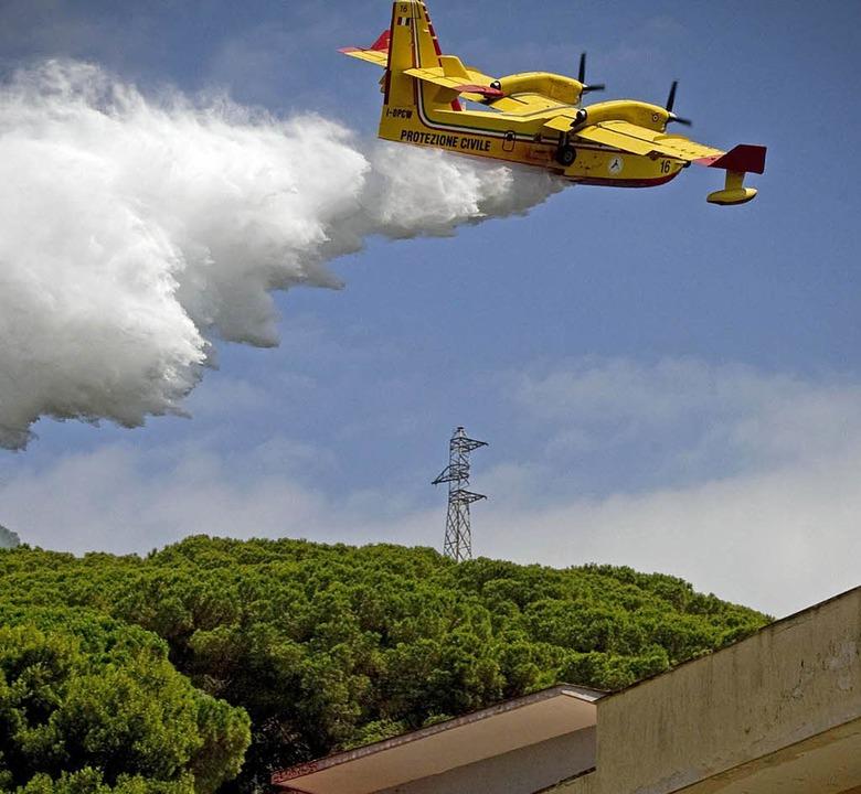 Ein Löschflugzeug versucht, den Waldbr... Hektar Bäume und Gebüsch vernichtet.     Foto: dpa