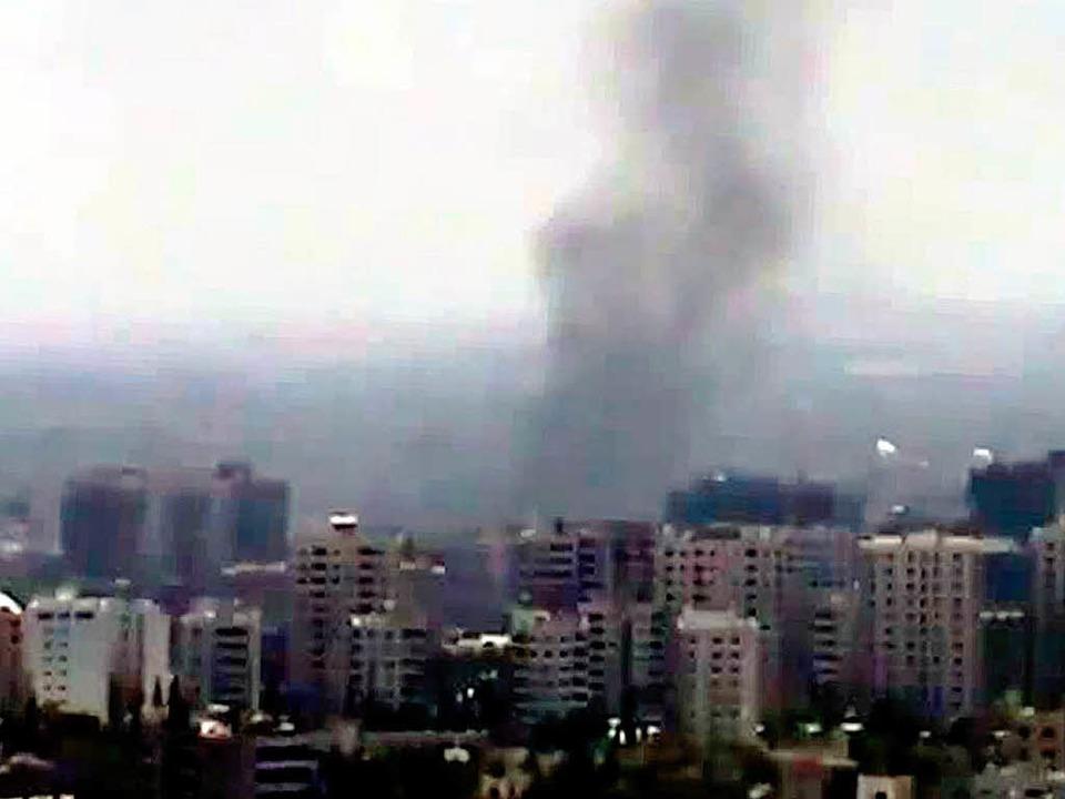 Seit Tagen stehen Rauchschwaden über Damaskus.    Foto: AFP
