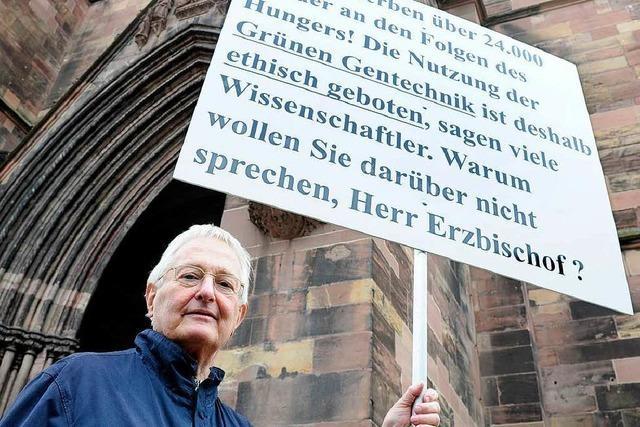Protest vor dem Münster – Verweis für Fotografen