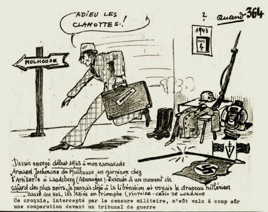In zahlreichen Zeichnungen hat André Muller seine Erinnerungen dokumentiert.   | Foto: Zeichnung: André Muller