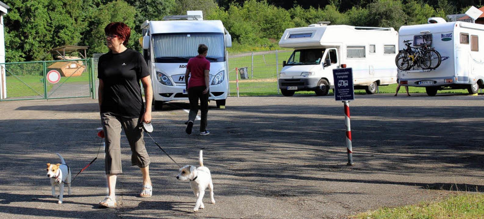 Der Wohnmobil-Stellplatz am Waldbad wi...agegen die beengten Platzverhältnisse.  | Foto: Christa Maier