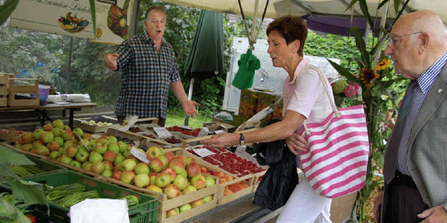 Gemüse (links) und Äpfel sowie Himbeer...kleiner Teil des Vörstetter Angebots.     Foto: Pia Grättinger