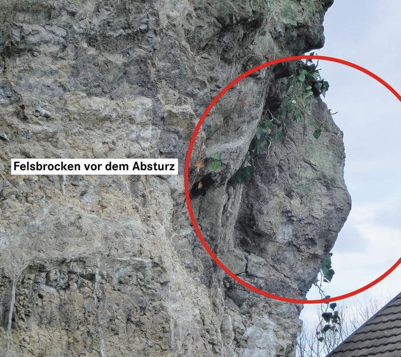 Der Felsbrocken, der sich vom Breisach...ig demolierte, war über 2 Meter lang.   | Foto: Udo Matteoschat/gerold zink/frank kreutner/polizei