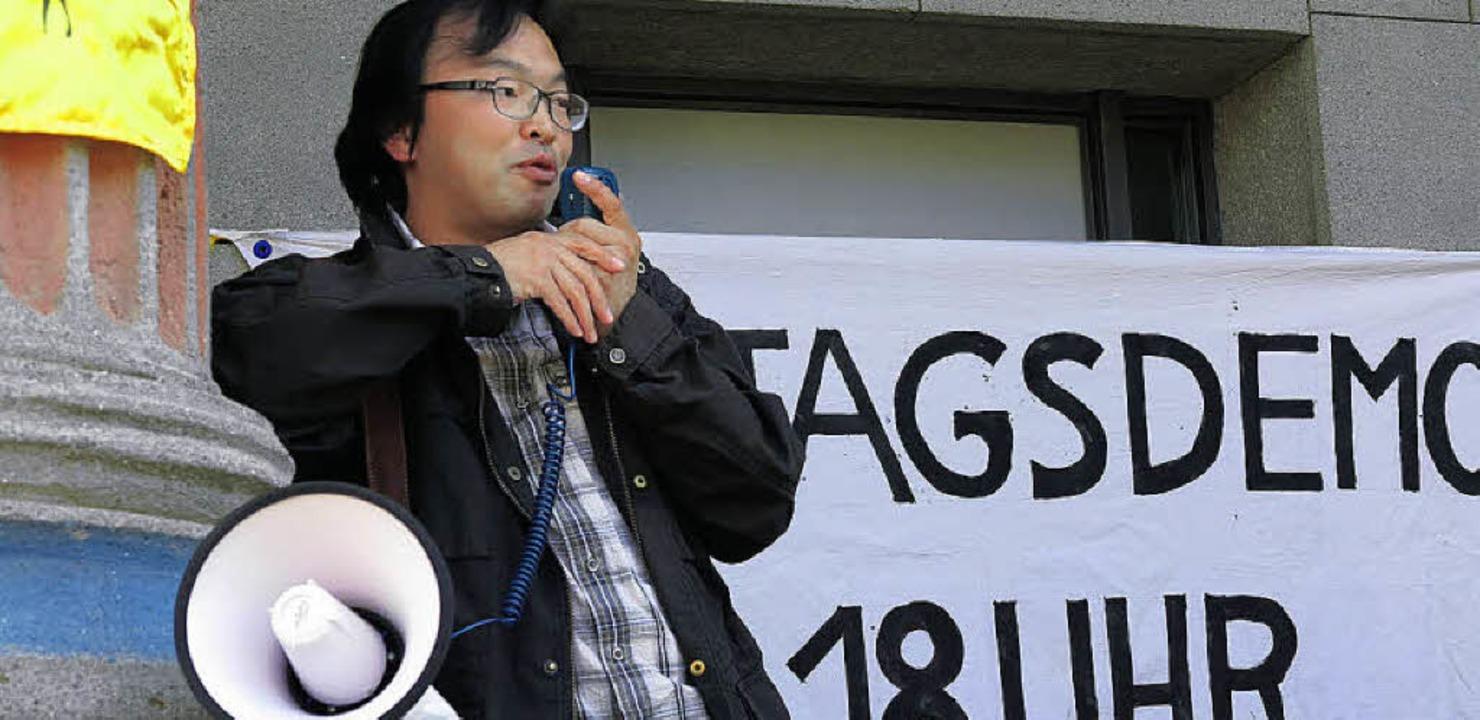 Noriaki Ikeda aus Nagasaki sprach bei ...ie Proteste gegen Atomkraft in Japan.   | Foto: Philipp