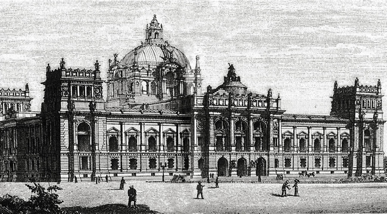 Wallots Wettbewerbsentwurf für das Reichstagsgebäude von 1882  | Foto: Archiv