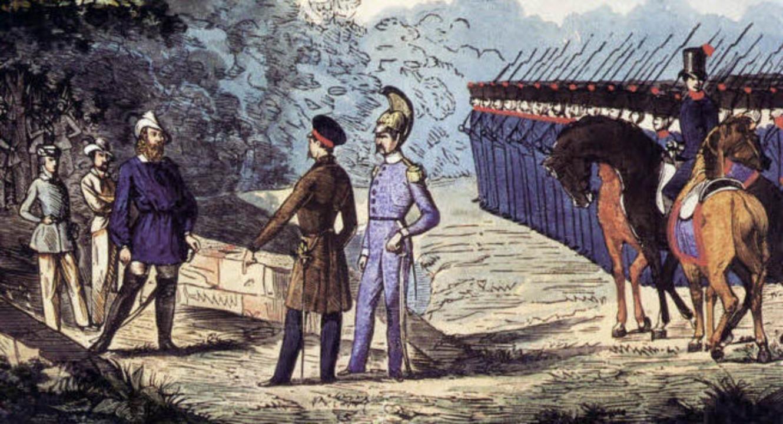 """Letztes """"Parlamentieren"""" a...ck getötet wurde (unten: Gedenkstein)     Foto: zeitgenöss. Darstellung/Siebold"""
