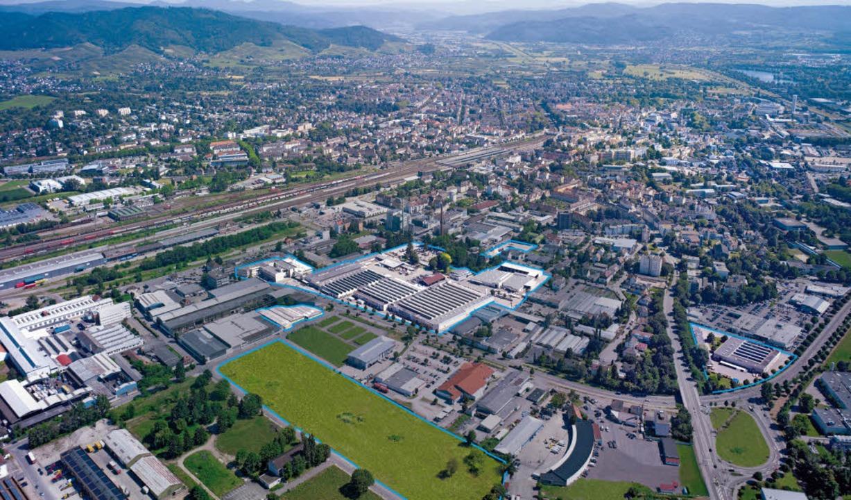 Das Meiko-Firmengelände (blau umrandet) im Offenburger Nordwesten.   | Foto: Fotos: Meiko