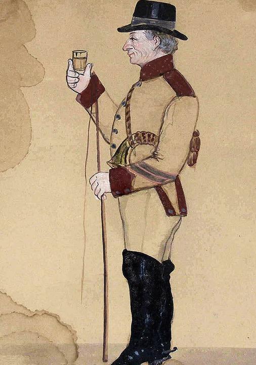 Der Postillion auf der Abbildung von 1863   | Foto: Museum am Burghof